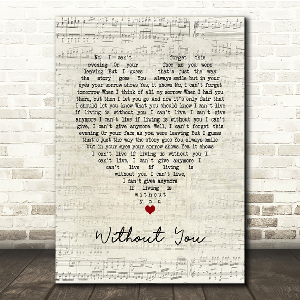 Harry Nilsson Without You Script Heart Song Lyric Print