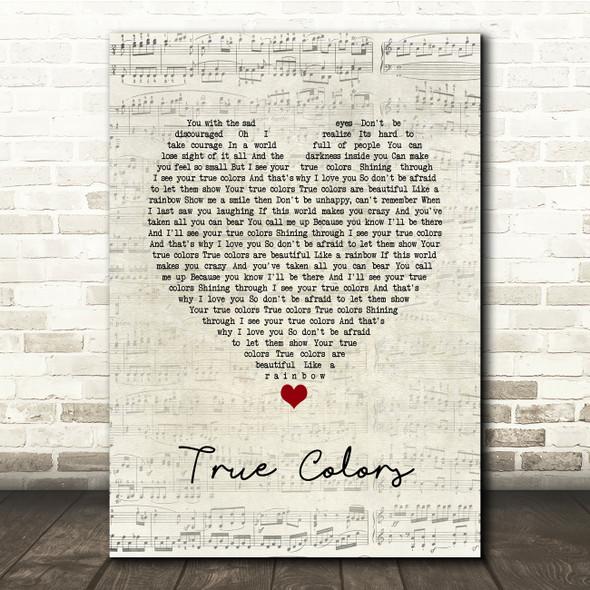 Cyndi Lauper True Colors Script Heart Song Lyric Print