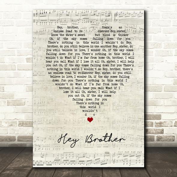 Avicii Hey Brother Script Heart Song Lyric Print
