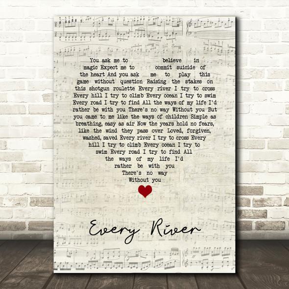 Runrig Every River Script Heart Song Lyric Print