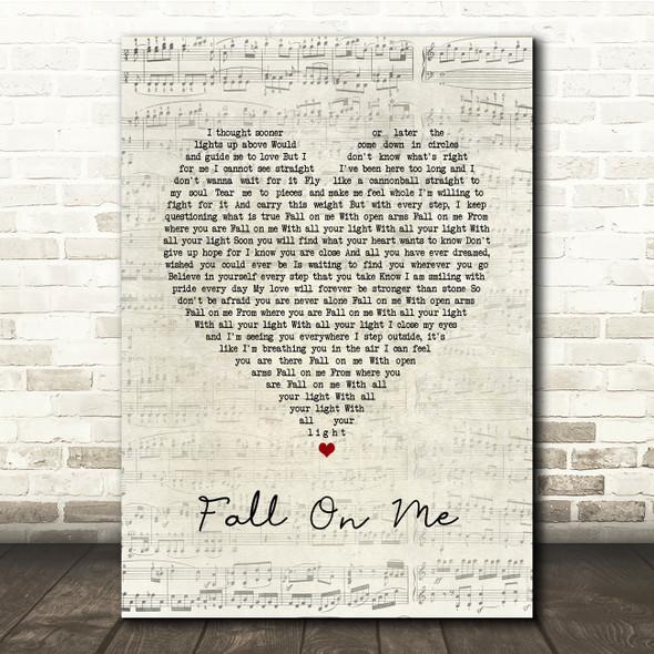 Andrea Bocelli & Matteo Bocelli Fall On Me Script Heart Song Lyric Print