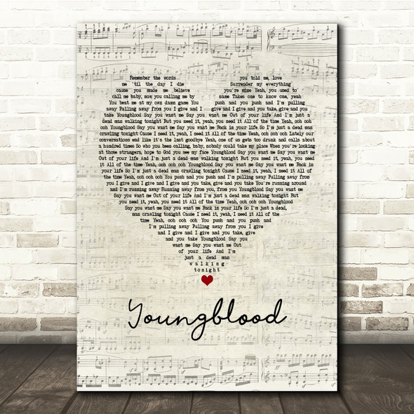 5 Seconds Of Summer Youngblood Script Heart Song Lyric Print