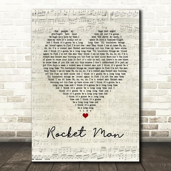 Elton John Rocket Man Script Heart Song Lyric Print