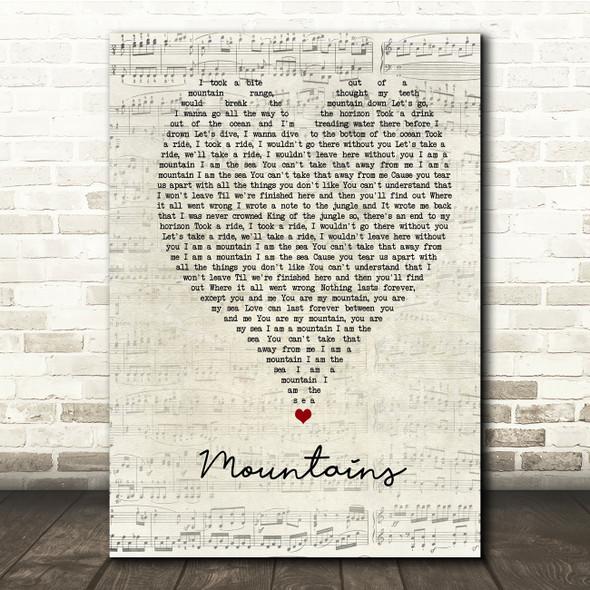Biffy Clyro Mountains Script Heart Song Lyric Print