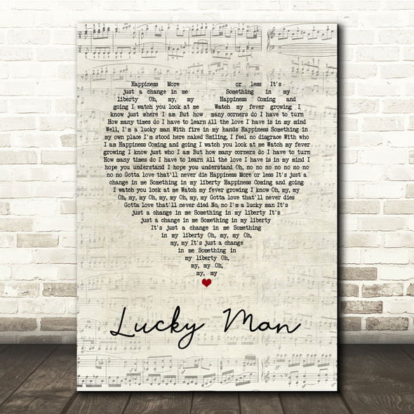 The Verve Lucky Man Script Heart Song Lyric Print