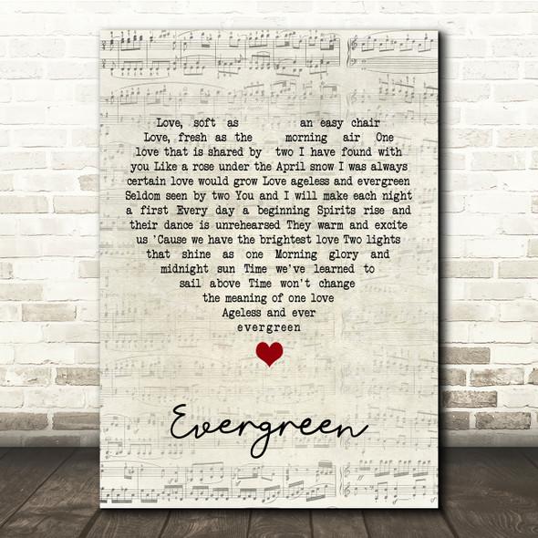 Barbra Streisand Evergreen Script Heart Song Lyric Print