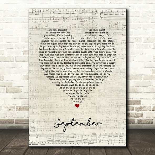Earth Wind and Fire September Script Heart Song Lyric Print