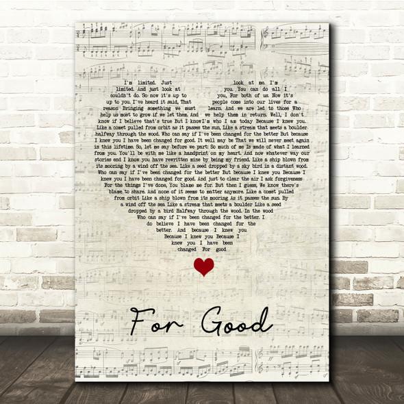 Idina Menzel & Kristin Chenoweth For Good Script Heart Song Lyric Print