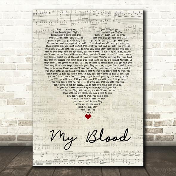 Twenty One Pilots My Blood Script Heart Song Lyric Print