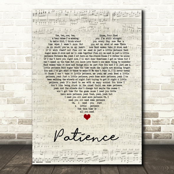 Guns N Roses Patience Script Heart Song Lyric Print