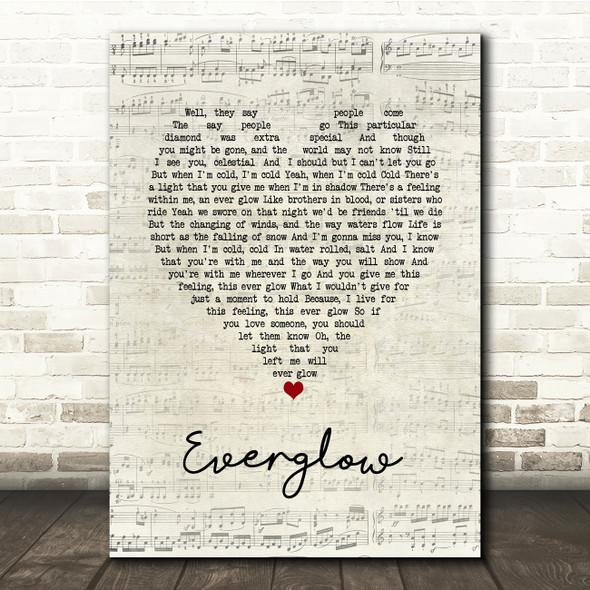 Coldplay Everglow Script Heart Song Lyric Print
