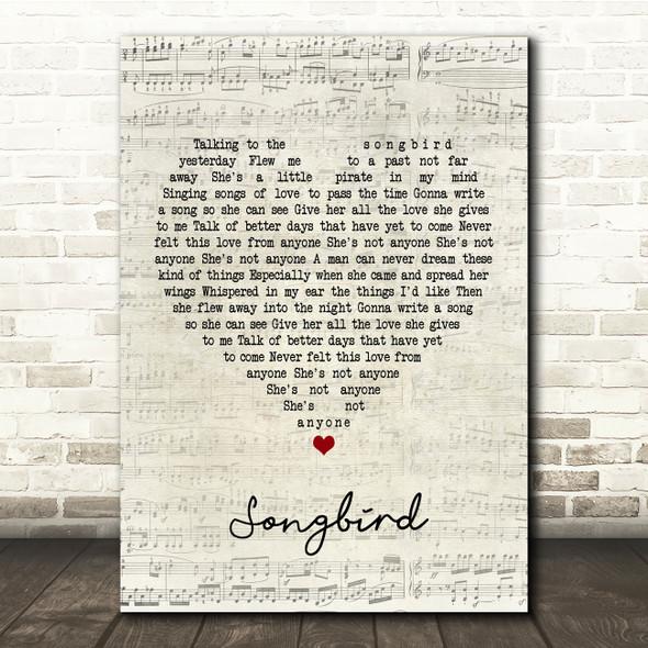 Oasis Songbird Script Heart Song Lyric Print