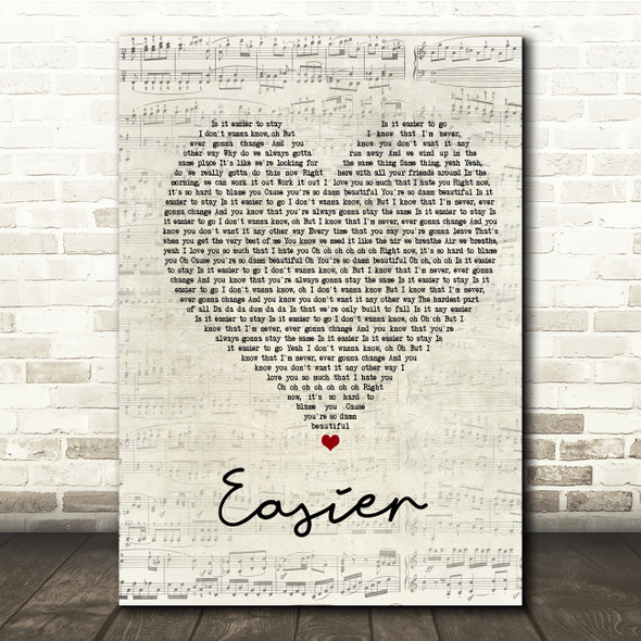 5 Seconds Of Summer Easier Script Heart Song Lyric Print