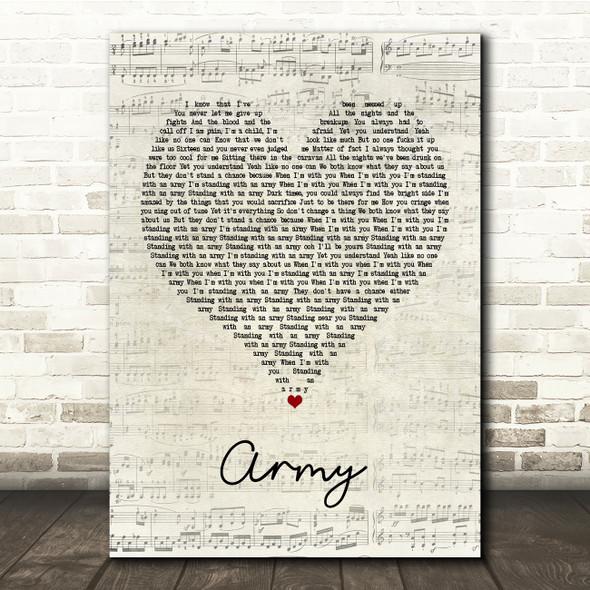 Ellie Goulding Army Script Heart Song Lyric Print