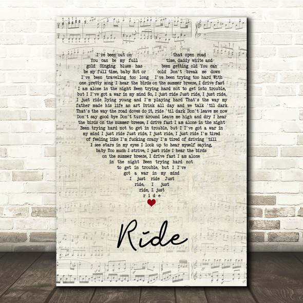Lana Del Rey Ride Script Heart Song Lyric Print
