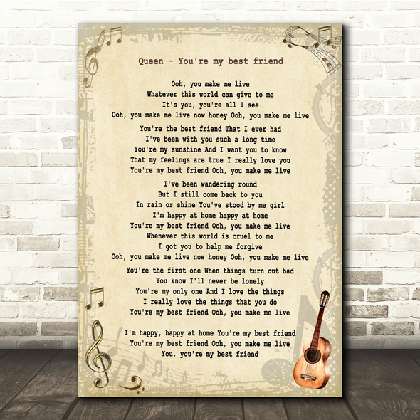 Queen You're My Best Friend Vintage Guitar Song Lyric Print