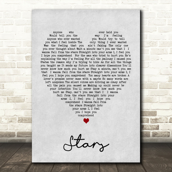 Simply Red Stars Grey Heart Song Lyric Quote Print