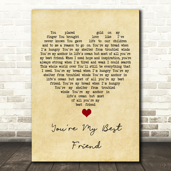 Don Williams You're My Best Friend Vintage Heart Song Lyric Print