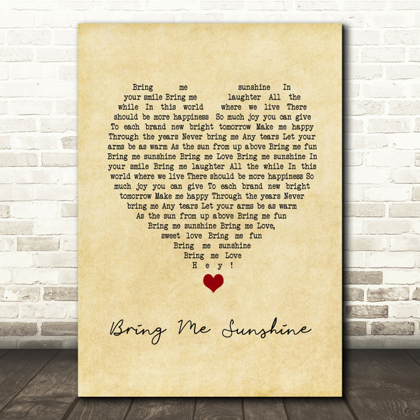 Morecambe and Wise Bring Me Sunshine Vintage Heart Song Lyric Print