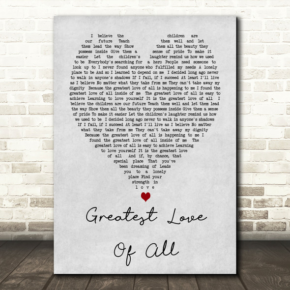 Whitney Houston Greatest Love Of All Grey Heart Song Lyric Quote Print