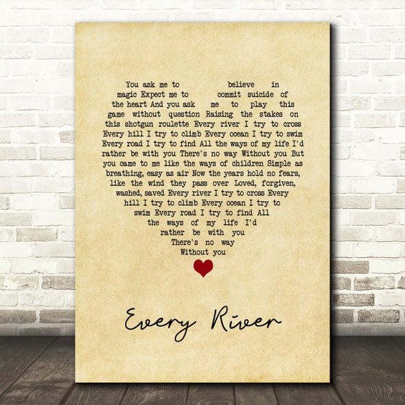 Runrig Every River Vintage Heart Song Lyric Print