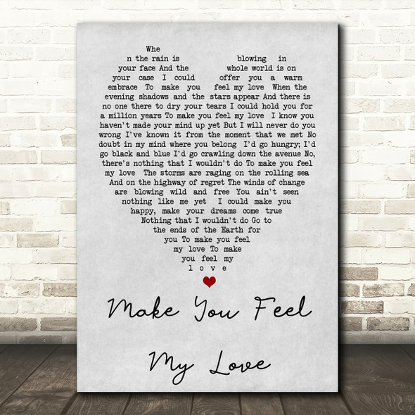 Make You Feel My Love Adele Grey Heart Song Lyric Quote Print