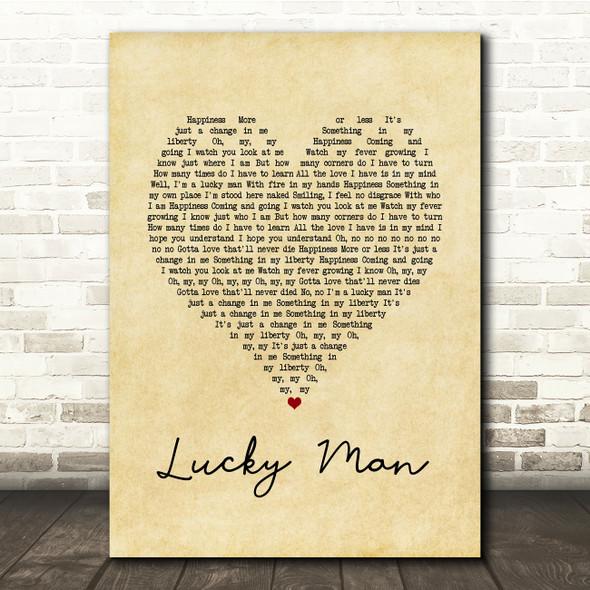 The Verve Lucky Man Vintage Heart Song Lyric Print