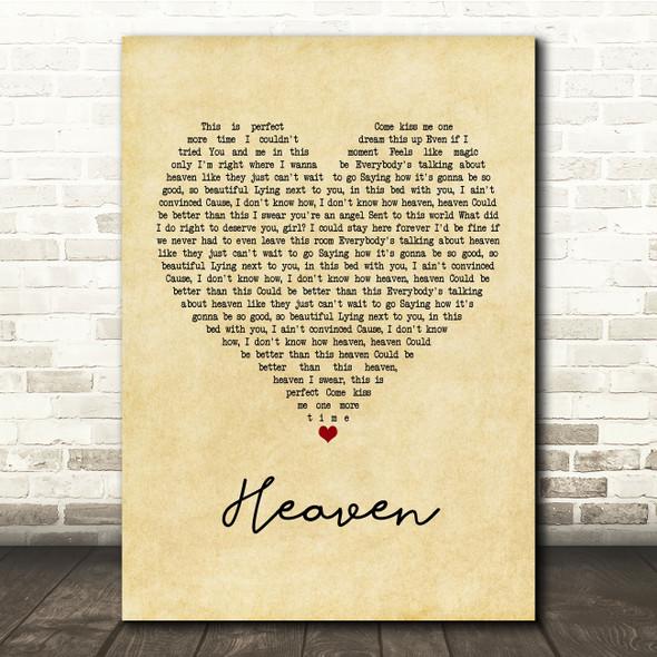 Kane Brown Heaven Vintage Heart Song Lyric Print