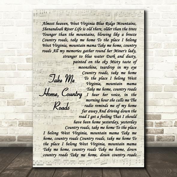 John Denver Take Me Home, Country Roads Vintage Script Song Lyric Print