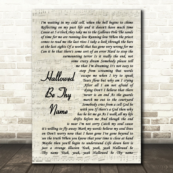 Iron Maiden Hallowed Be Thy Name Vintage Script Song Lyric Print