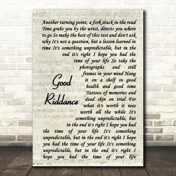Green Day Good Riddance Vintage Script Song Lyric Print