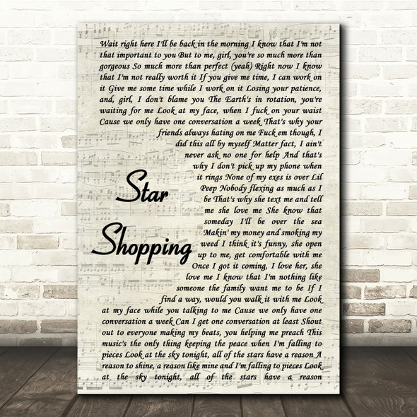Lil Peep Star Shopping Vintage Script Song Lyric Print