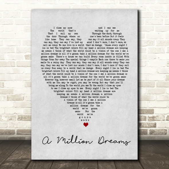 A Million Dreams The Greatest Showman Grey Heart Song Lyric Quote Print