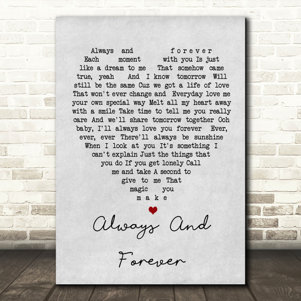 Always And Forever Luther Vandross Grey Heart Song Lyric Quote Print