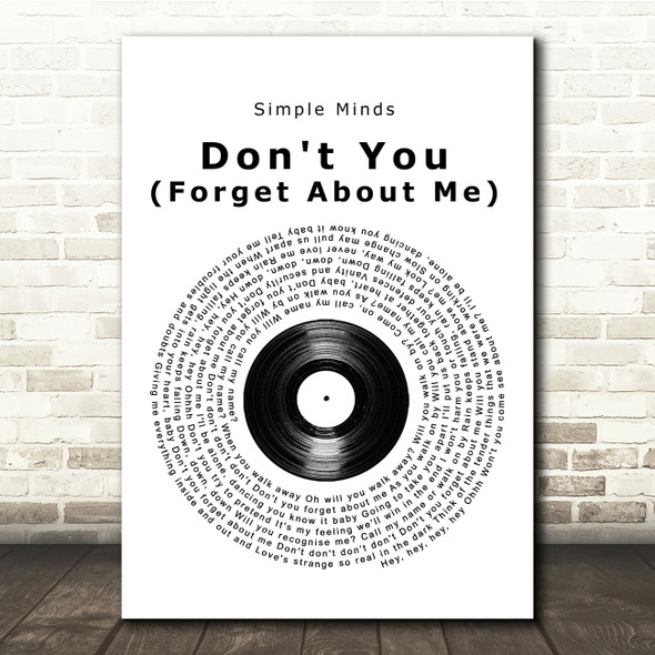 Simple Minds Don't You (Forget About Me) Vinyl Record Song Lyric Print