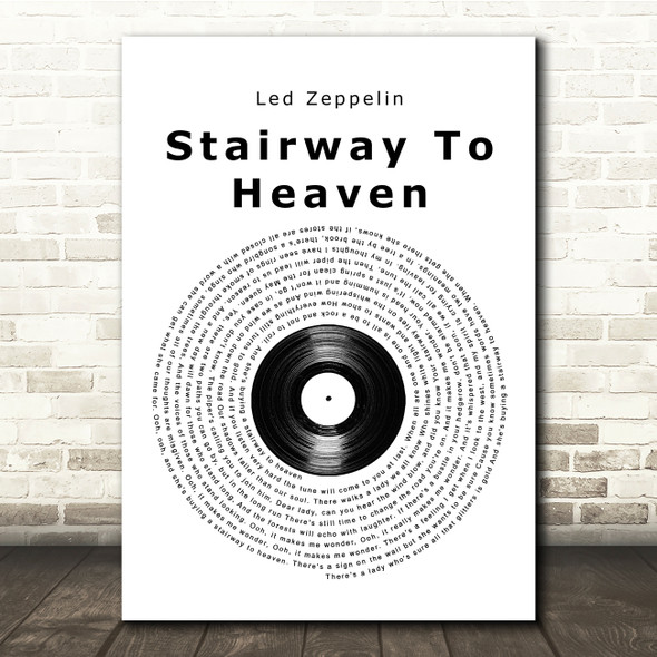 Led Zeppelin Stairway To Heaven Vinyl Record Song Lyric Print