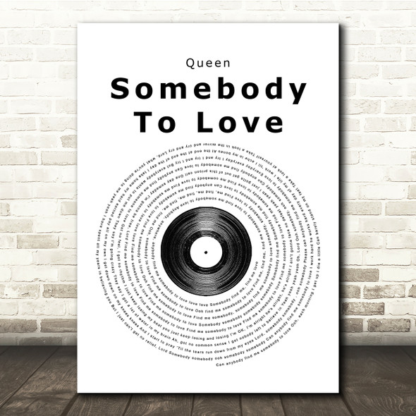 Queen Somebody To Love Vinyl Record Song Lyric Print