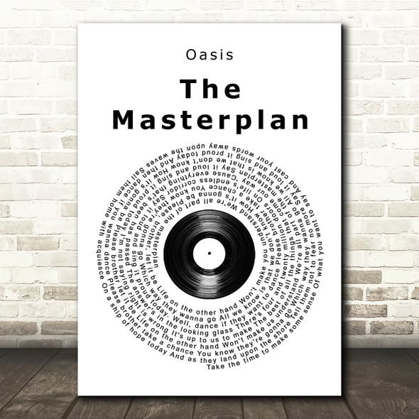 Oasis The Masterplan Vinyl Record Song Lyric Print