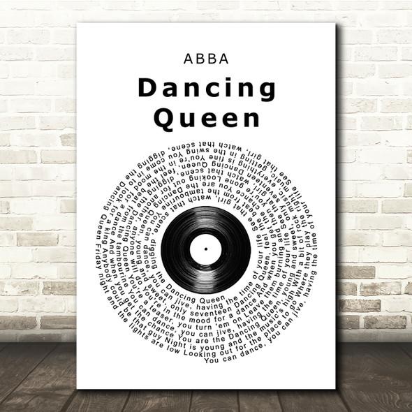 ABBA Dancing Queen Vinyl Record Song Lyric Quote Print