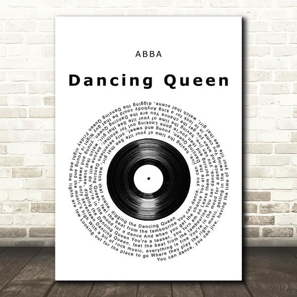 ABBA Dancing Queen Vinyl Record Song Lyric Print