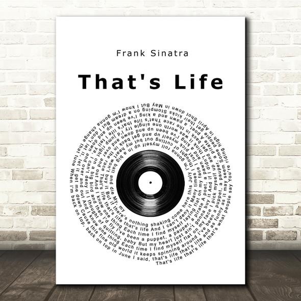 Frank Sinatra That's Life Vinyl Record Song Lyric Print