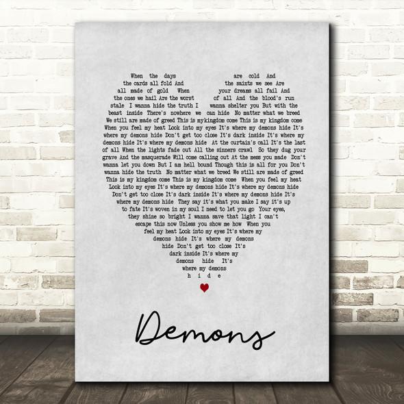 Demons Imagine Dragons Grey Heart Song Lyric Quote Print