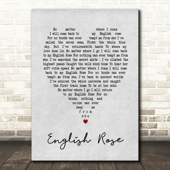 English Rose Paul Weller Grey Heart Song Lyric Quote Print