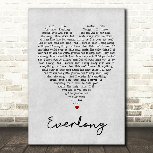 Everlong Foo Fighters Grey Heart Song Lyric Quote Print