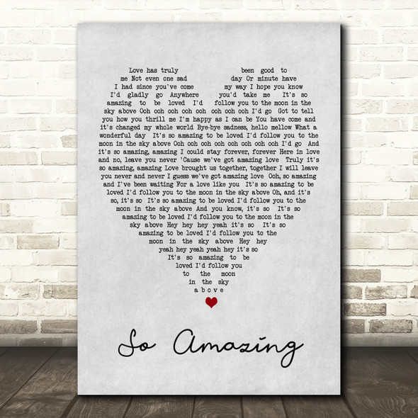 So Amazing Luther Vandross Grey Heart Song Lyric Quote Print