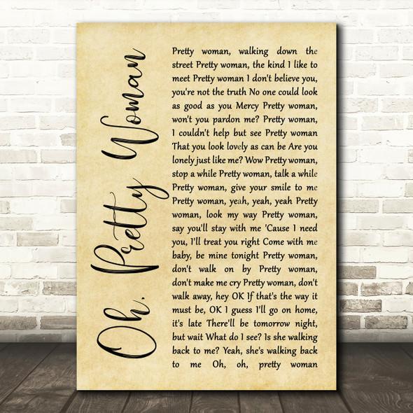 Roy Orbison Oh, Pretty Woman Rustic Script Song Lyric Print