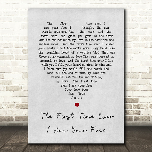 The First Time Ever I Saw Your Face Roberta Flack Grey Heart Song Lyric Print
