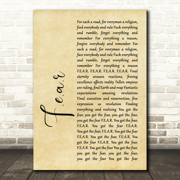 Ian Brown F.E.A.R Rustic Script Song Lyric Print