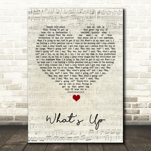 4 Non Blondes What's Up Script Heart Song Lyric Print