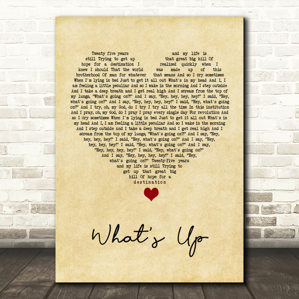 4 Non Blondes What's Up Vintage Heart Song Lyric Print